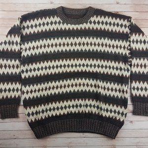 VTG 80s/90s Coogi-Like Diamonds Striped Sweater